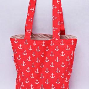 Torba na zakupy, torba shopperka, torba szoperka, eko siatka na zakupy kotwice czerwone
