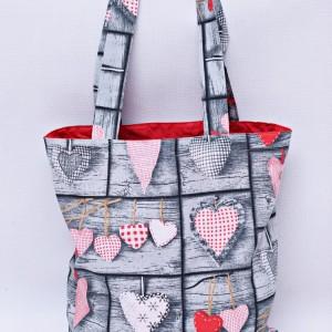 Torba na zakupy, torba shopperka, torba szoperka, eko siatka na zakupy, retro serca
