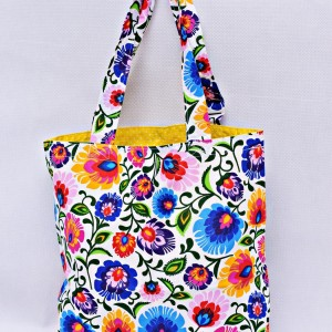 Torba na zakupy, torba shopperka, torba szoperka, eko siatka na zakupy biały łowicz z żółtym, torba łowicka