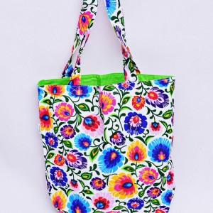 Torba na zakupy, torba shopperka, torba szoperka, eko siatka na zakupy biały łowicz z zielonym, torba łowicka