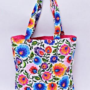 Torba na zakupy, torba shopperka, torba szoperka, eko siatka na zakupy biały łowicz z różowym, torba łowicka