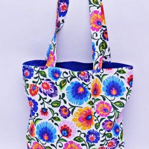 Torba na zakupy, torba shopperka, torba szoperka, eko siatka na zakupy biały łowicz z niebieskim, torba łowicka