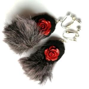 klipsy etno boho futro róże handmade