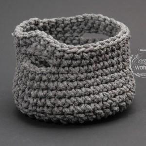 Koszyk ze sznurka bawełnianego handmade szydełko
