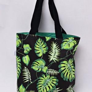 Torba na zakupy, torba shopperka, torba szoperka, eko siatka na zakupy liście monstera zielone