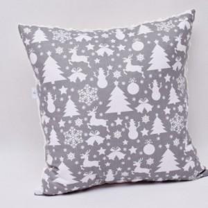 Poduszka świąteczna poduszka ozdobna szara z białym minky