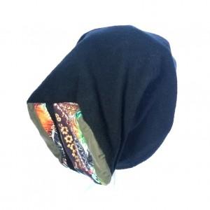 czapka czarna zimowa ciepła patchwork damska
