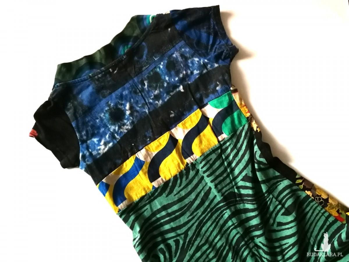 sukienka firmy desigual bawełna kolorowa vintage