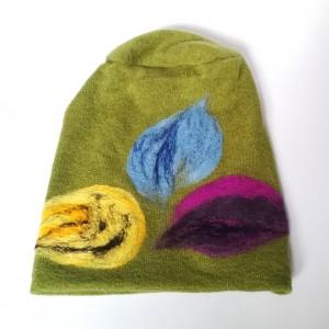 czapka wełniana filcowana zielona  zimowa handmade