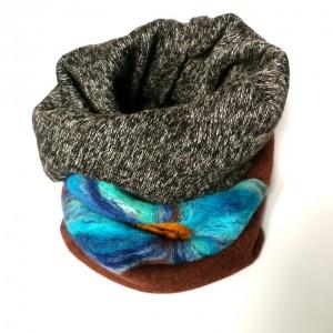 komin z dzianiny swetrowej filcowany wełną merynosów zimowy ciepły