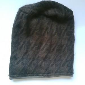 czapka męska damska unisex wełniana brązowo-czarna handmade