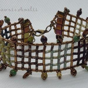 Kratka z frędzlami bransoletka handmade beading