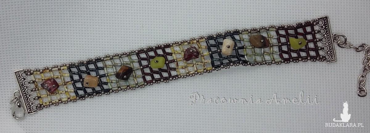 Kratka z minerałami bransoletka handmade beading