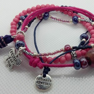 Zestaw różowy komplet bransoletek handmade