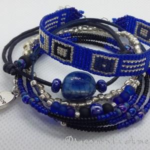 Zestaw kobaltowy komplet bransoletek handmade