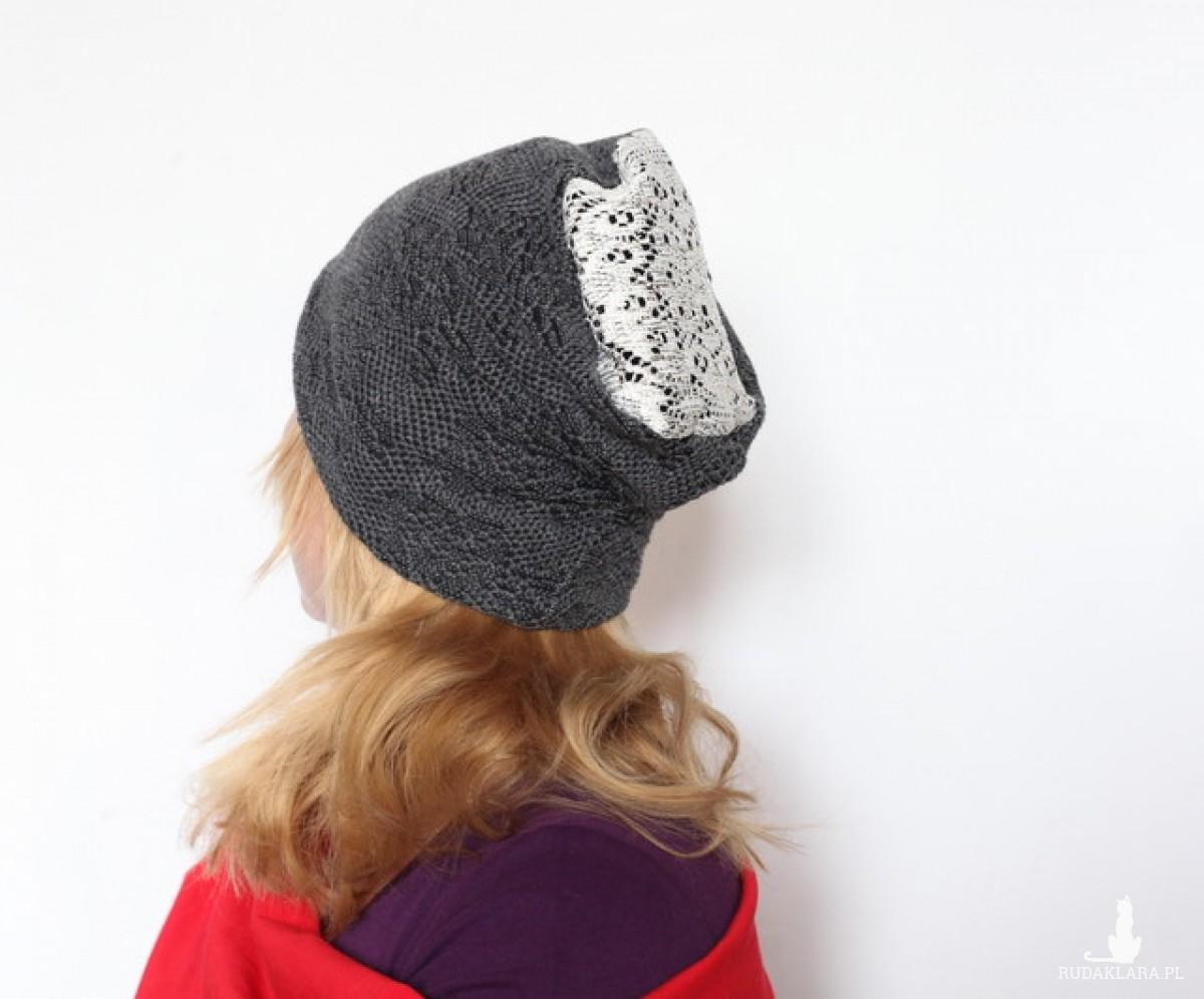 czapka koronkowa handmade