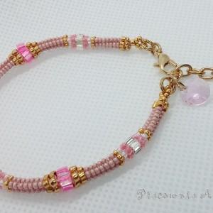 Delikatna różowa bransoletka handmade beading