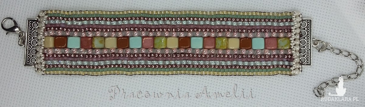 Multikolor bransoletka z krosna handmade beading
