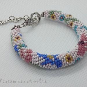 Wąż kwiatowy bransoletka handmade beading