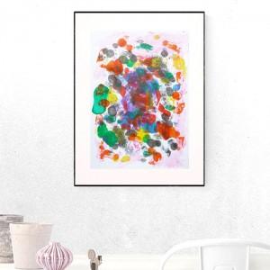 kolorowa grafika do sypialni, abstrakcyjny obraz, nowoczesna dekoracja na ścianę, grafika do loftu