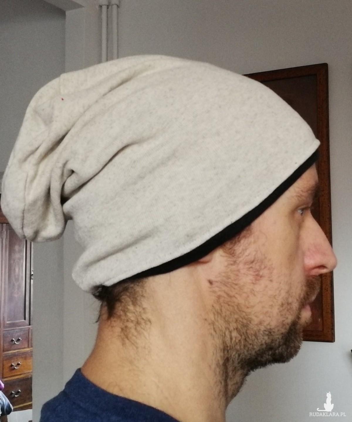 czapka damska męska ecru unisex ciepła