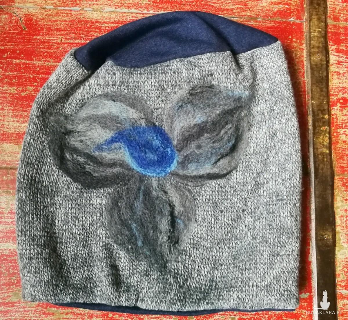 czapka wełniana filcowana szara melanż zimowa