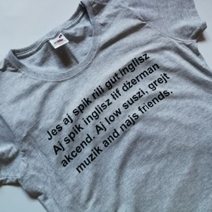 T shirt damski szary bawełniany z nadrukiem