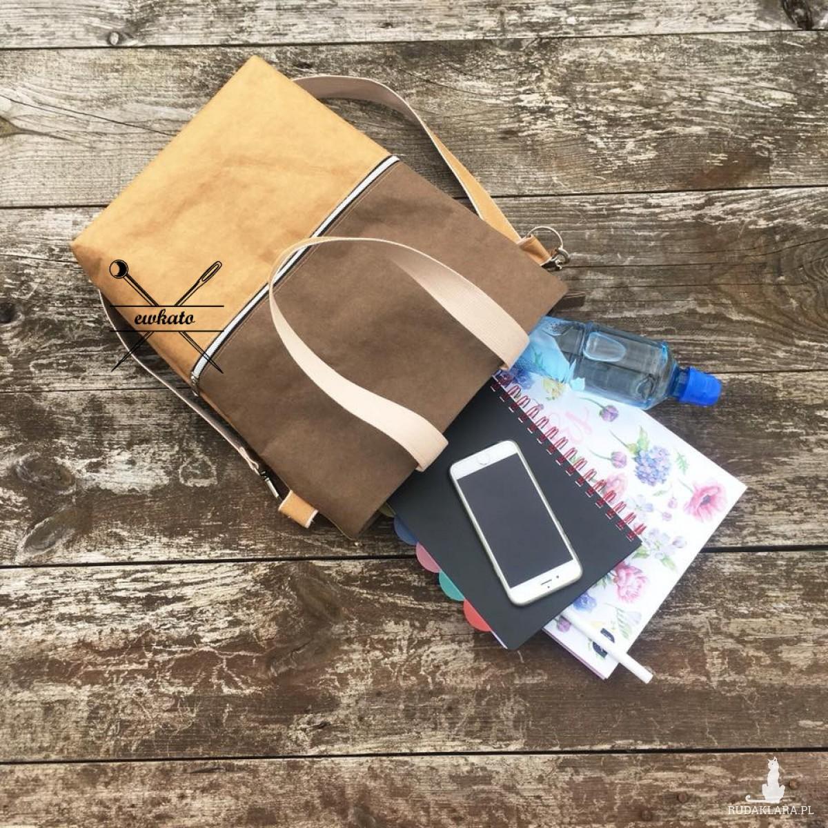 Damska torba z washable craft paper brązowa