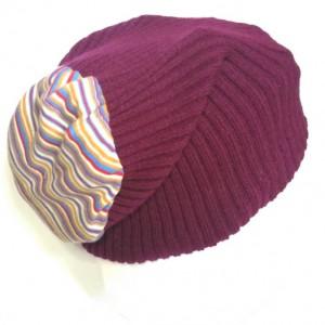 czapka wełniana uniwersalna unisex ciepła fiolet