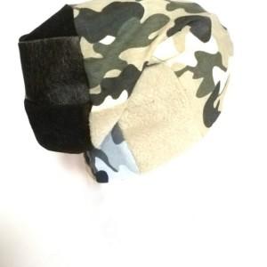 czapka damska męska unisex wojskowa patchwork dzianina