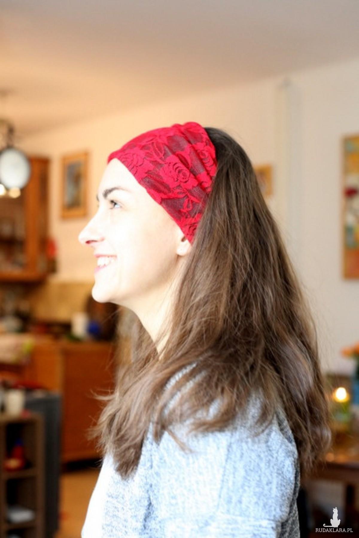 opaska czerwona koronkowa handmade