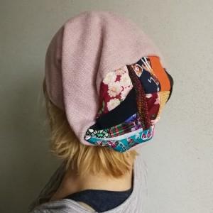 czapka damska wrzosowa pastel góra patchwork boho handmade
