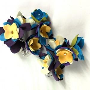 klipsy kwiatowe handmade wykonane w pojedynczym egzemplarzu