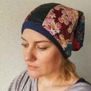 czapka kolorowa patchworkowa kwiatowa etno boho
