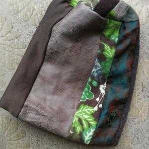 czapka patchworkowa damska odcienie zieleni handmade damska