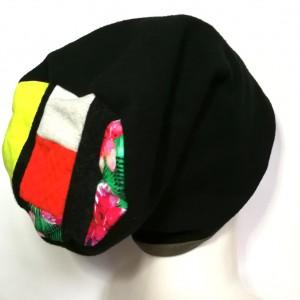 czapka damska czarna ciepła zimowa patchwork