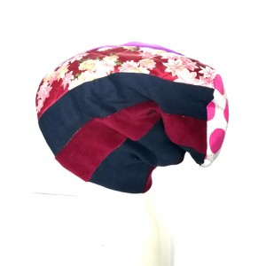 czapka patchwork smerfetka dresowa dzianina boho