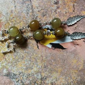 klipsy kule kamienie naturalne etno boho handmade