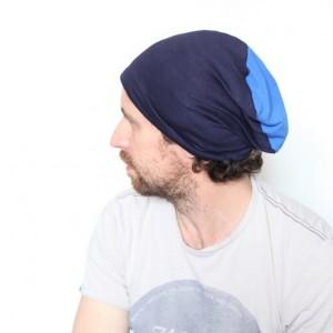 czapka dresowa niebieska dzianinowa