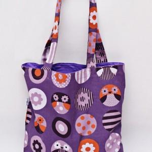 Torba na zakupy, torba shopperka, torba szoperka, eko siatka bawełniana na zakupy sowy