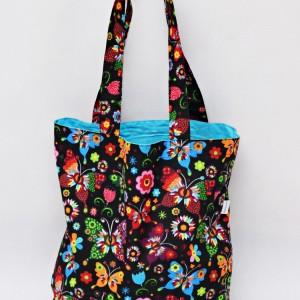 Torba na zakupy, torba shopperka, torba szoperka, eko siatka bawełniana na zakupy motyle folk niebieskie