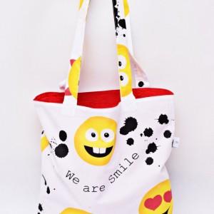 Torba na zakupy, torba shopperka, torba szoperka, eko siatka na zakupy emotki, emoji, emotikon czerwone