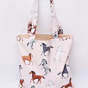 Torba na zakupy, torba shopperka, torba szoperka, eko siatka na zakupy konie, koniki beżowe
