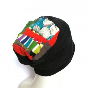 czapka damska czarna patchwork etno