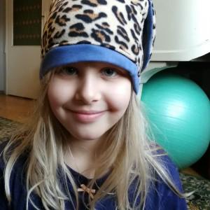 czapka panterka z uszami dla dziewczynki