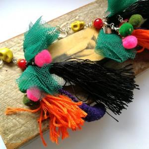 klipsy etniczne boho pióra długie etno
