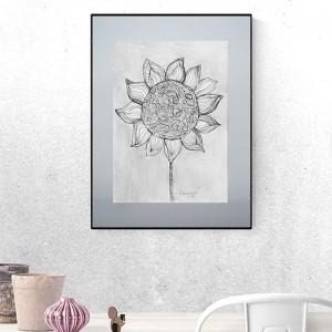 szary obraz skandynawski, czarno biały rysunek na ścianę, grafika minimalizm, nowoczesny rysunek do loftu
