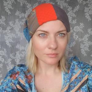 czapka damska kolorowa szyta patchworkowo wiosenna