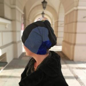 czapka damska wiosenna uniwersalna patchworkowa