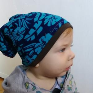 czapka dziecięca dzianina bawełniana w kwiatki na podszewce